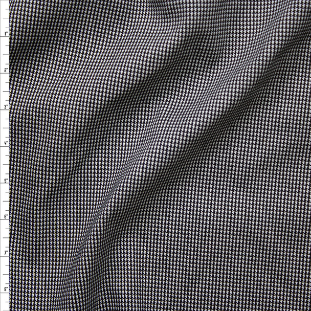 Black and White Houndstooth Stretch Midweight Rayon Gabardine Fabric By The Yard