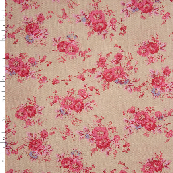 Hot Pink Antique Floral on Tan Light Midweight Linen Fabric By The Yard