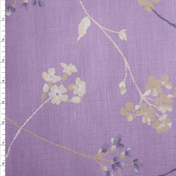 Offwhite, Tan, and Lilac Wind Blown Flowers on Lavender Heavyweight Linen Fabric By The Yard