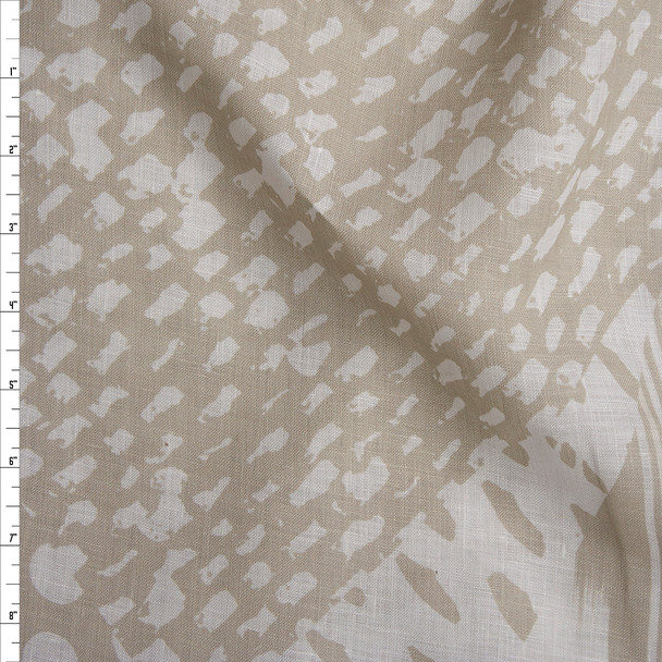 Tan and Ivory Mixed Pattern Patchwork Lightweight Linen Fabric By The Yard