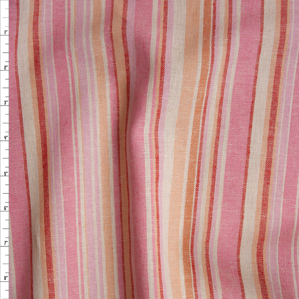 Offwhite, Ivory, Pink, Orange, and Red Barcode Stripe Soft Midweight Linen Fabric By The Yard