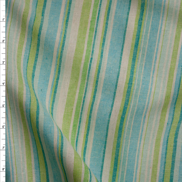 Lime, Aqua, Ivory, and Teal Barcode Stripe Soft Midweight Linen Fabric By The Yard