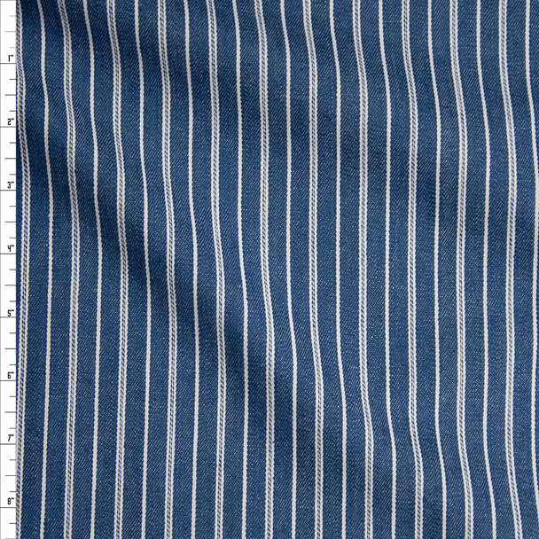 Vertical Offwhite Stripes on Medium Blue Denim Fabric By The Yard