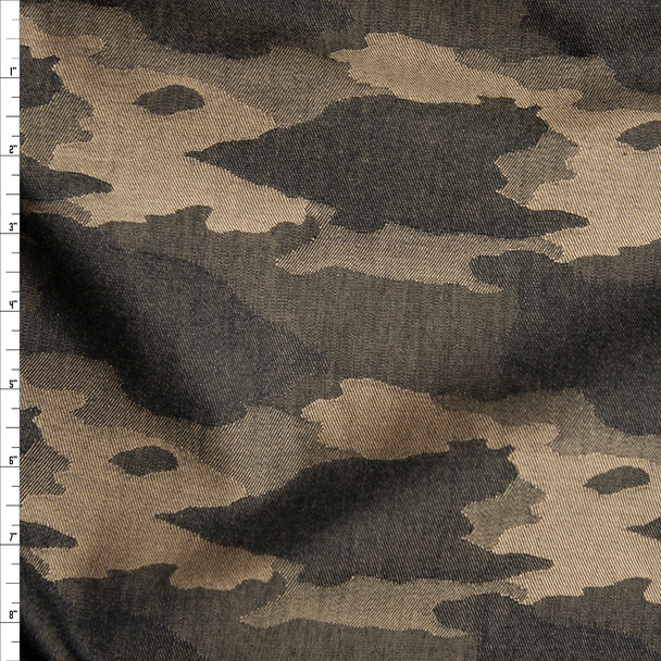 Tan and Black Denim Woven Camouflage Pattern Designer Denim Fabric By The Yard