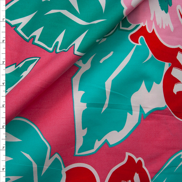 Pink, Red, and Seafoam Island Floral Light Midweight Cotton Poplin Fabric By The Yard