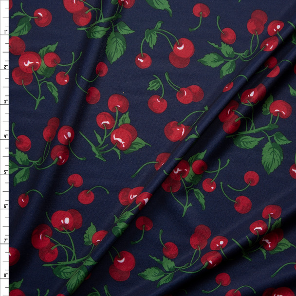 Cherries on Navy Midweight Nylon/Spandex Fabric By The Yard