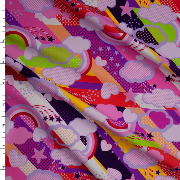 Pink, Orange, Purple, Yellow, and Green Pop Art Stars, Rainbows, and Clouds Premium 5.8oz Nylon/Spandex Fabric By The Yard