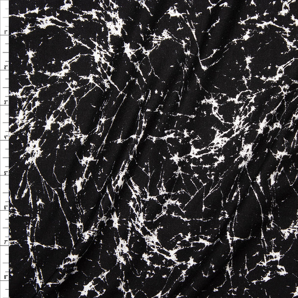 White on Black Cracked Grunge Pattern Stretch Modal Jersey Knit Fabric By The Yard