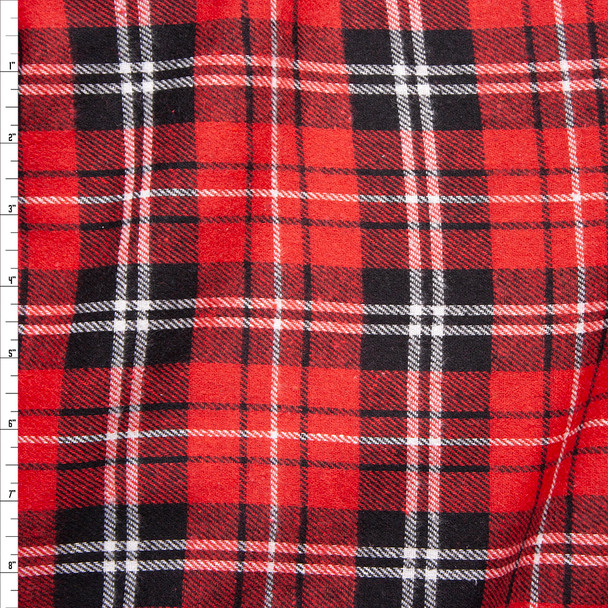 Red, Black, and White Plaid Midweight Flannel Fabric By The Yard