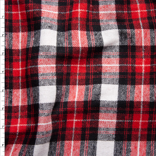 White, Red, and Black Plaid Midweight Flannel Fabric By The Yard