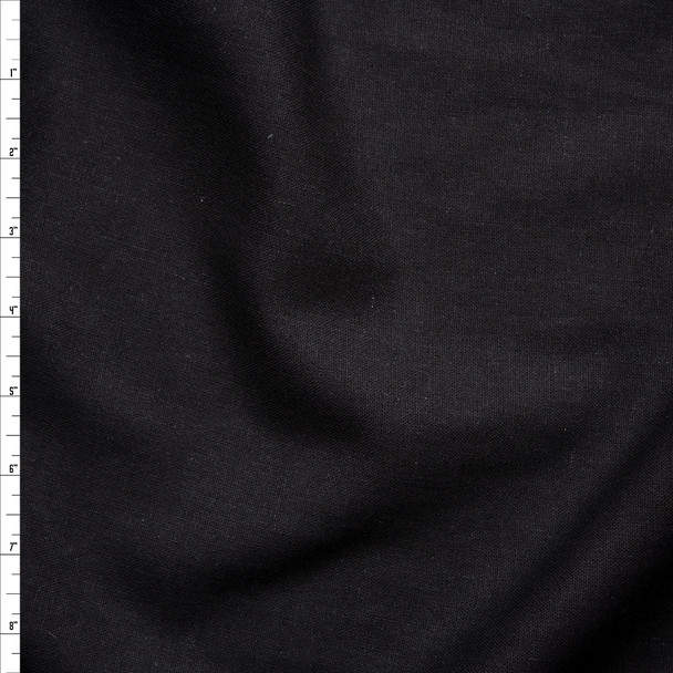Black Rayon/Linen Linen-Look Fabric By The Yard