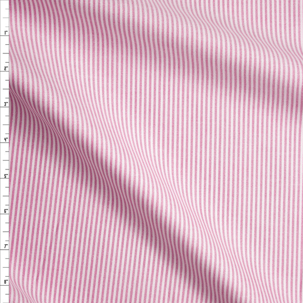 Pink and White Vertical Stripes Cotton Oxford Cloth from 'Brooks Brothers' Fabric By The Yard