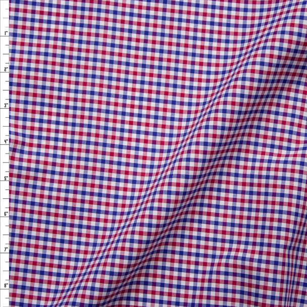 Red, White, and Blue Plaid Fine Cotton Shirting from 'Brooks Brothers' Fabric By The Yard