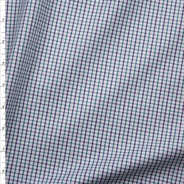 Navy, Emerald, and White Plaid Cotton Oxford Cloth from 'Brooks Brothers' Fabric By The Yard