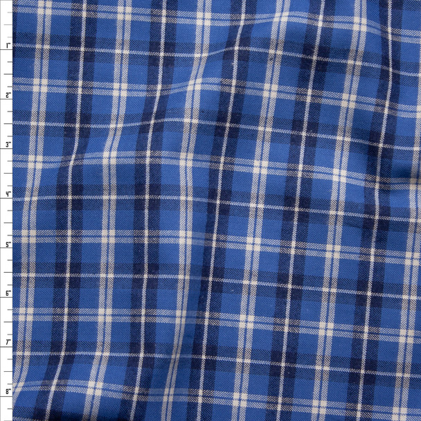 Cadet Blue, Navy, and White Plaid Fine Flannel Shirting from 'Brooks Brothers' Fabric By The Yard