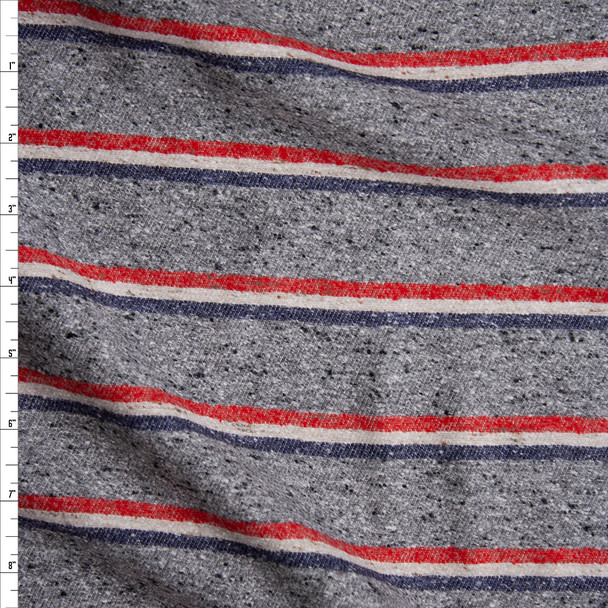 Grey Heather with Red, White, and Blue Horizontal Stripes Slubbed Midweight Flannel from 'Brooks Brothers' Fabric By The Yard