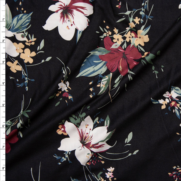 Wine, White, and Black Lily Floral on Black Double Brushed Poly/Spandex Knit Fabric By The Yard
