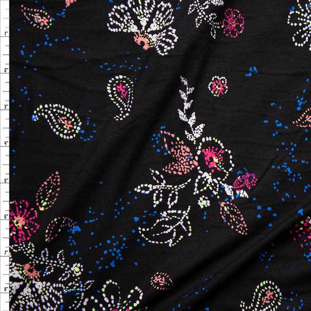 Bright Dotted Floral on Black Double Brushed Poly/Spandex Knit Fabric By The Yard