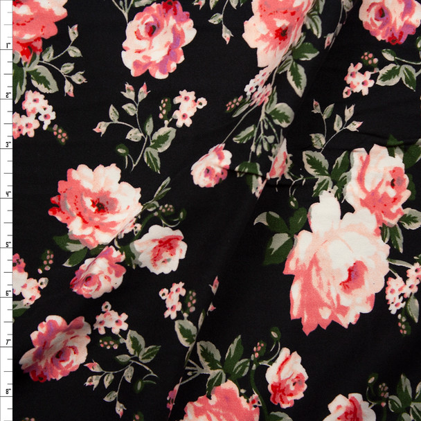 Pink and Sage Green Rose Floral on Black Double Brushed Poly/Spandex Knit Fabric By The Yard