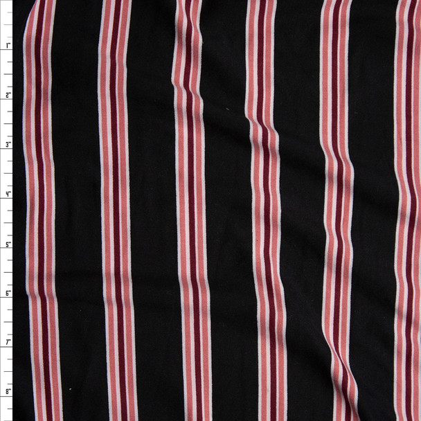 Pink and Wine Vertical Stripes on Black Double Brushed Poly/Spandex Knit Fabric By The Yard