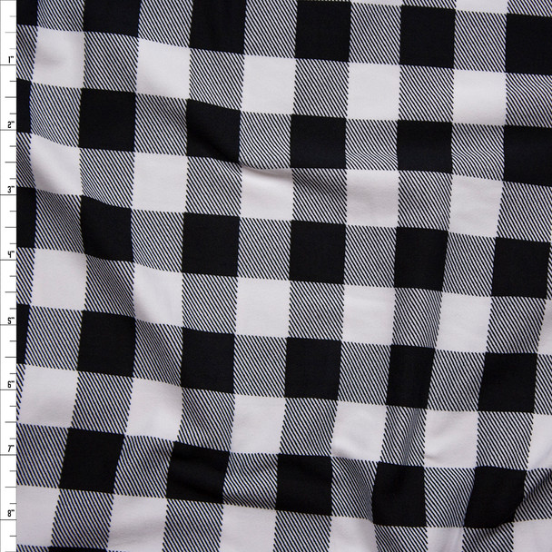 "Black and White 1"" Gingham Double Brushed Poly/Spandex Knit Fabric By The Yard"