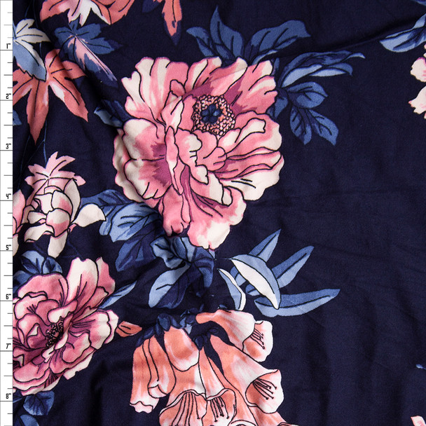 Pink and Teal Comicbook Floral on Dark Violet Double Brushed Poly/Spandex Knit Fabric By The Yard