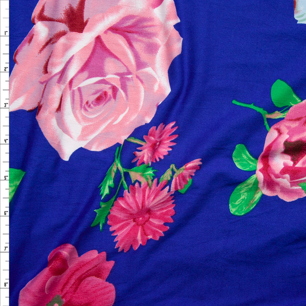 Pink Airbrush Rose Floral on Bright Blue Double Brushed Poly/Spandex Knit Fabric By The Yard