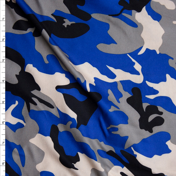 Blue, Black, Ivory, and Grey Camouflage Double Brushed Poly/Spandex Knit Fabric By The Yard