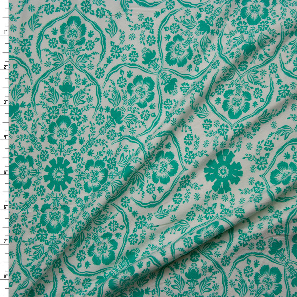 Kelly Green Retro Ornate Floral on Offwhite Double Brushed Poly/Spandex Knit Fabric By The Yard
