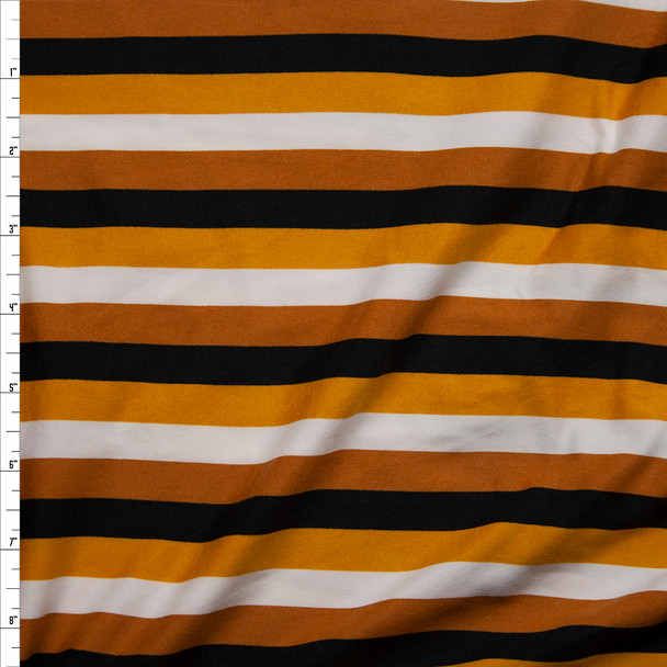Mustard, Dijon, Black, and Offwhite Stripe Double Brushed Poly/Spandex Knit Fabric By The Yard