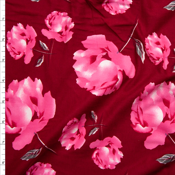 Pink Floral on Dark Red Heavy Double Brushed Poly/Spandex Knit Fabric By The Yard