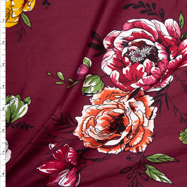 Pink, Yellow, and Orange Comicbook Floral on Wine Double Brushed Poly/Spandex Knit Fabric By The Yard