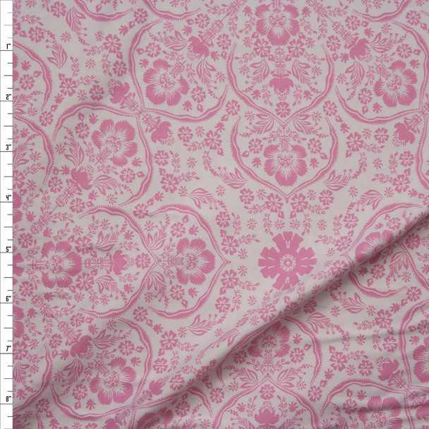 Pink Retro Ornate Floral on White Double Brushed Poly/Spandex Knit Fabric By The Yard