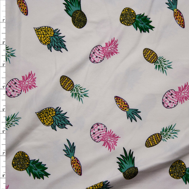 Pineapples on Ivory Double Brushed Poly/Spandex Knit Fabric By The Yard
