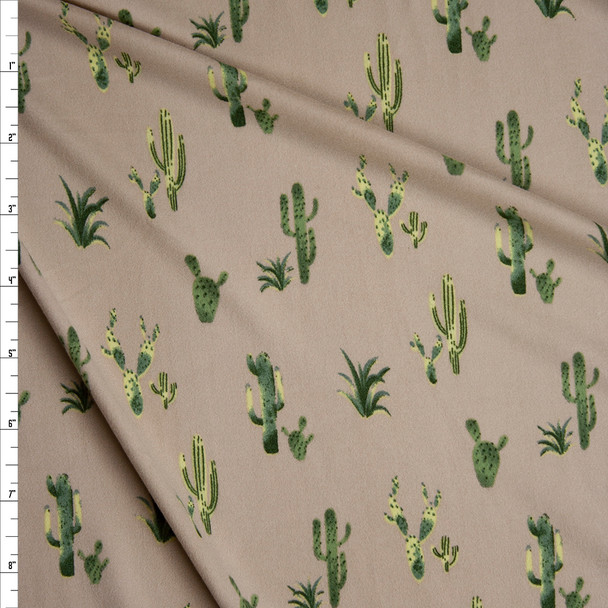 Green Cactus on Tan Double Brushed Poly/Spandex Knit Fabric By The Yard