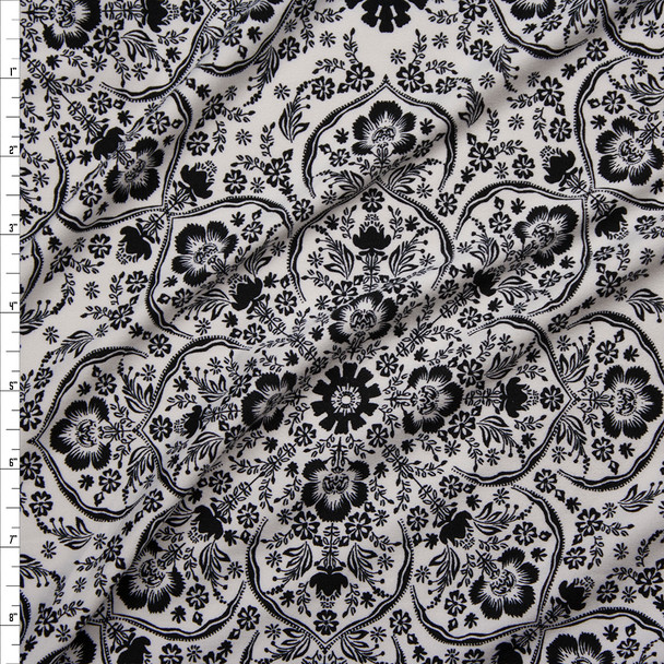 Black on White Retro Ornate Floral Double Brushed Poly/Spandex Knit Fabric By The Yard