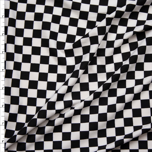 """Black and White 1/2"""" Checkers Double Brushed Poly/Spandex Knit Fabric By The Yard"""