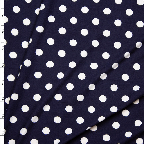 "White on Navy 1/2"" Polka Dot Double Brushed Poly/Spandex Knit Fabric By The Yard"