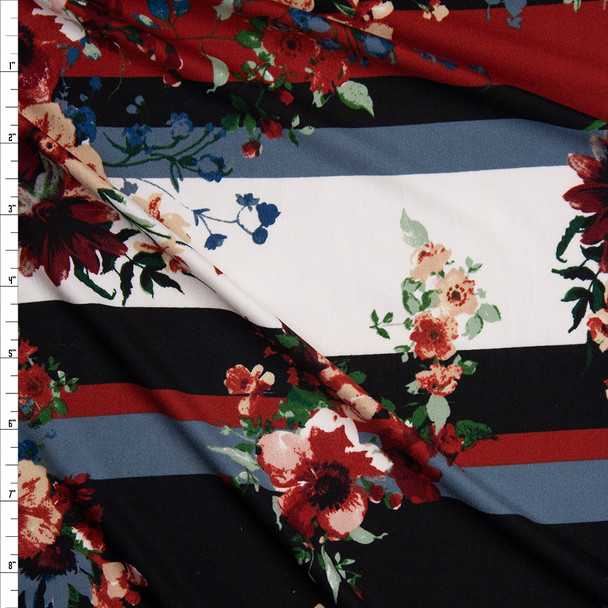 Floral on Wine, Black, and Offwhite Horizontal Stripe Double Brushed Poly/Spandex Knit Fabric By The Yard