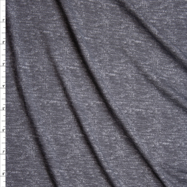 Dark Grey Grunge Heather Double Brushed Poly/Spandex Knit Fabric By The Yard
