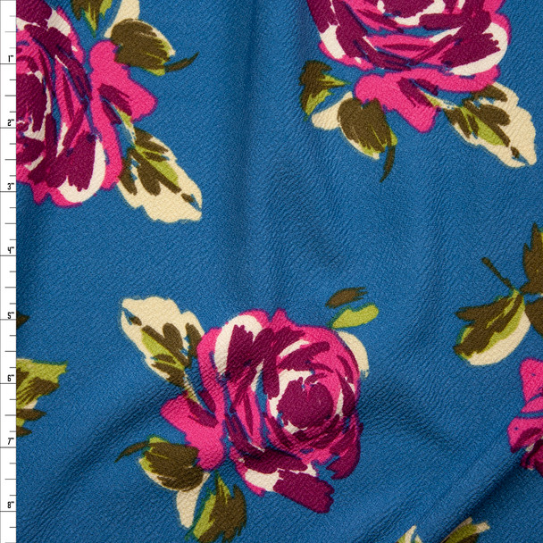 Hot Pink and Magenta Flowers on Teal Crepe-Like Liverpool Knit Fabric By The Yard