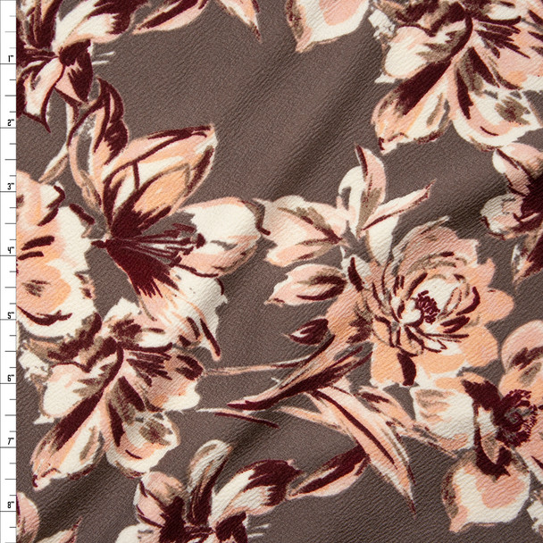 Peach, Ivory, and Wine floral on Taupe Crepe-Like Liverpool Knit Fabric By The Yard