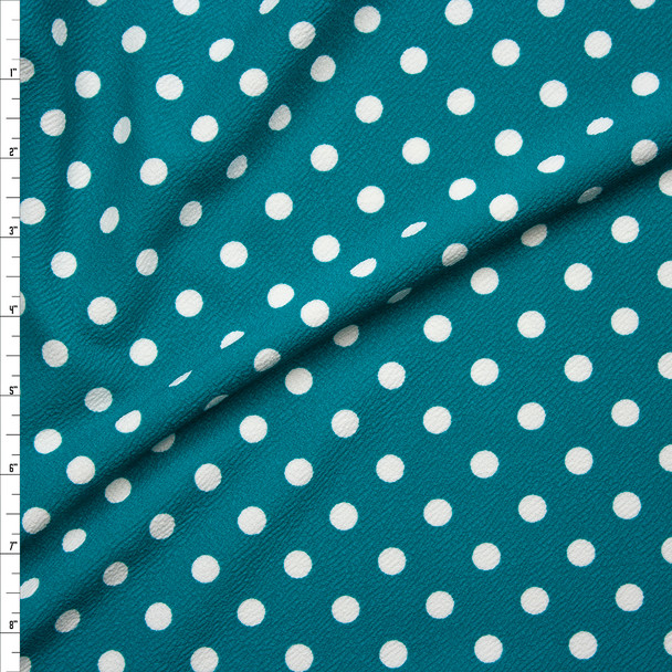 White Polka Dots on Teal Crepe-Like Liverpool Knit Fabric By The Yard
