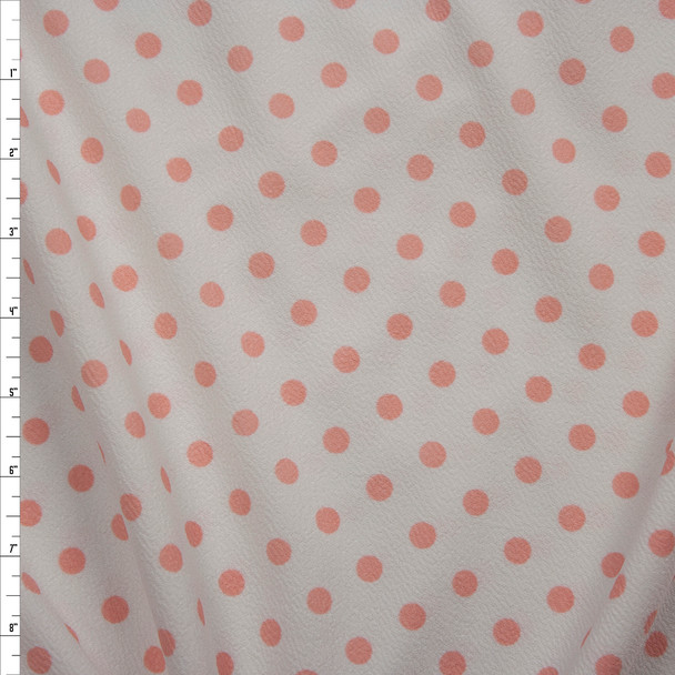 Pink on White Polka Dot Crepe-Like Liverpool Knit Fabric By The Yard