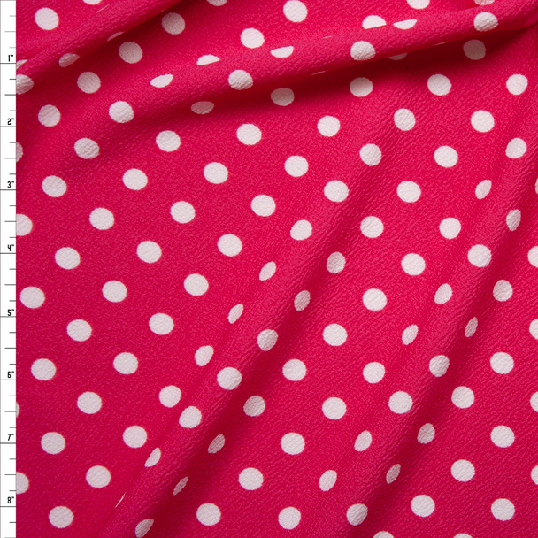 White on Hot Pink Polka Dot Crepe-Like Liverpool Knit Fabric By The Yard