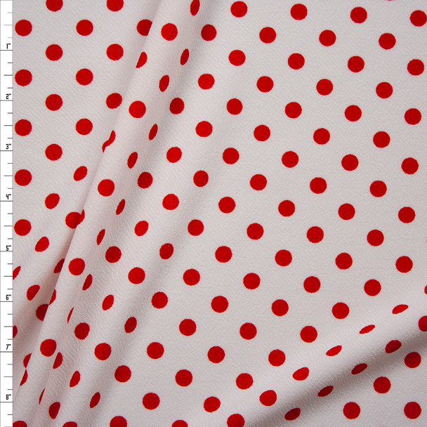 Red on White Polka Dot Crepe-Like Liverpool Knit Fabric By The Yard