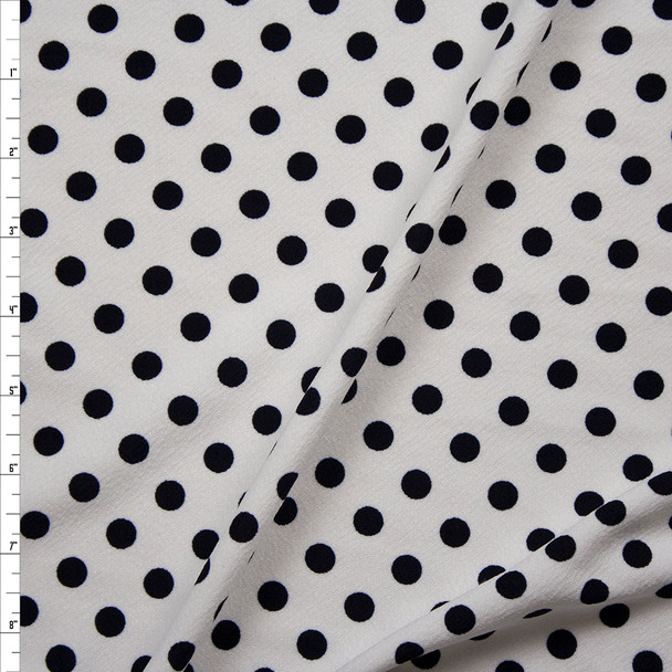 Black on White Polka Dot Crepe-Like Liverpool Knit Fabric By The Yard