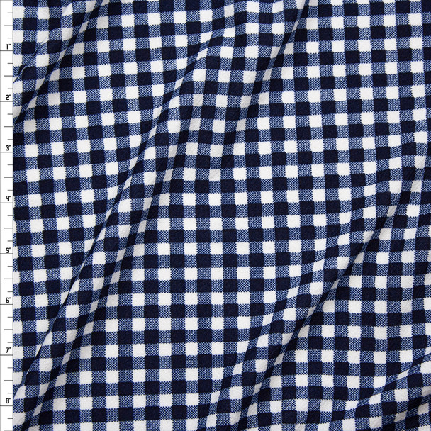 Navy and White Gingham Plaid Crepe-Like Liverpool Knit Fabric By The Yard