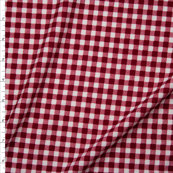 Burgundy and White Gingham Plaid Crepe-Like Liverpool Knit Fabric By The Yard