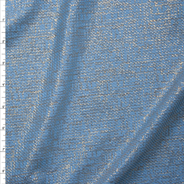 Gold Grunge Linen Overlay on Baby Blue Bullet Liverpool Knit Fabric By The Yard